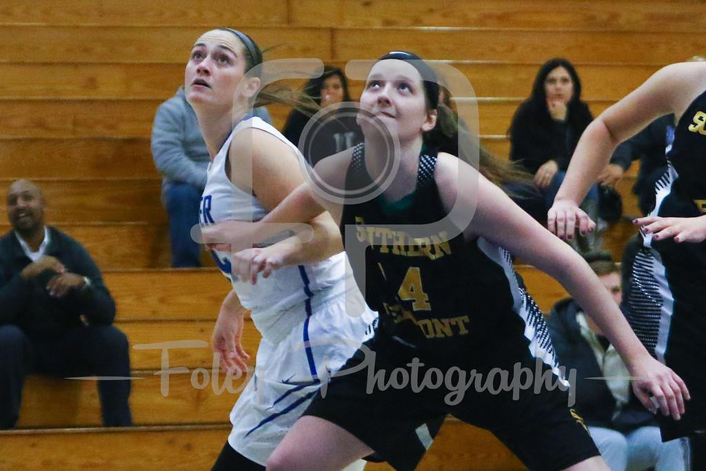 Becker College Hawks forward Ciara McKissick (24) Southern Vermont Mountaineers Brenna Hudson (14)
