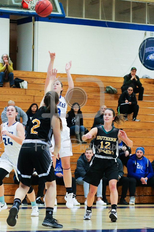 Becker College Hawks guard Cassidy Harrison (3) Southern Vermont Mountaineers Maddy Main (2)