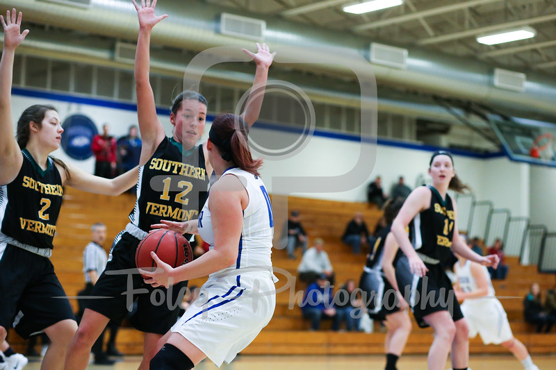 Becker College Hawks guard Mariah Triplett (0) Southern Vermont Mountaineers Taylor Mallett (12) Southern Vermont Mountaineers Maddy Main (2)