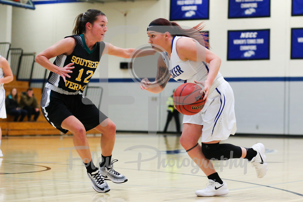 Becker College Hawks guard Mariah Triplett (0) Southern Vermont Mountaineers Taylor Mallett (12)