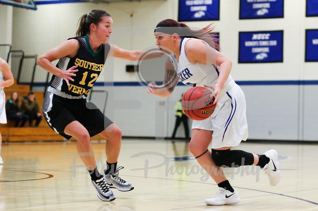 Becker College Hawks guard Mariah Triplett (0) Southern Vermont Mountaineers Taylor Mallett (12)