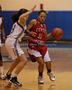 Manorville NY:  Center Moriches Sr. Takia Plummer #11  moves the ball down court  against Southampton in the Suffolk Girls HS Basketball Class B finals at Eastport-South Manor High School. (Feb. 19, 2013) <br /> Photo by Daniel De Mato