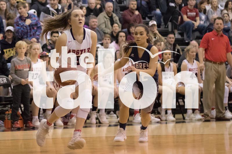 The Lady Eagles play against Aubrey on Feb. 16, 2018 at Argyle Highschool in Argyle, Texas, on February 16, 2018. (Quinn Calendine / The Talon News)
