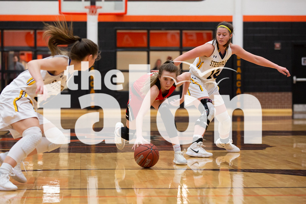 The Argyle Lady Eagles Basketball team plays against the Stephenville Honey Bees at Aledo High School in Aledo, Texas on February 19, 2019. (Andrew Fritz   The Talon News)