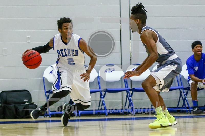 Becker College Hawks guard Kareem Davis (2) Lesley College Lynx Will Gibson (5)