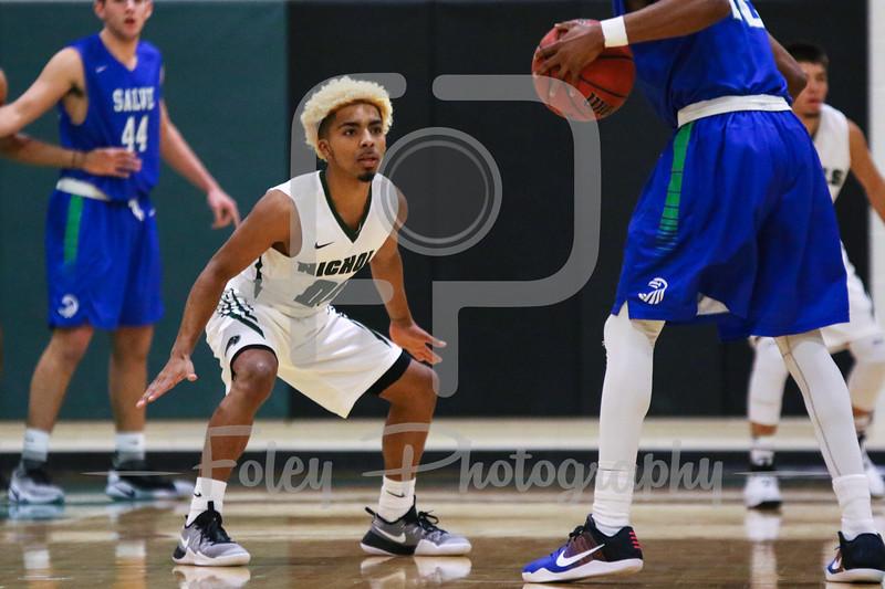 Nichols College guard Jordan Booker (00)