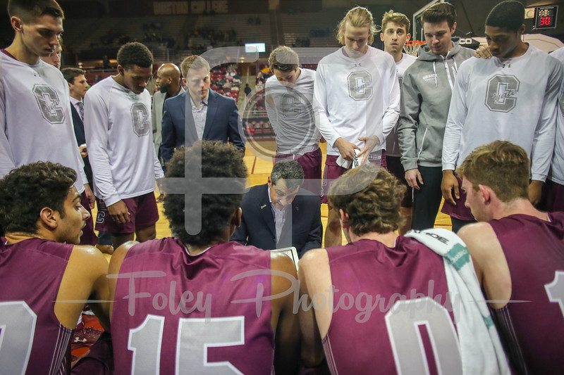 Nov. 22, 2017, Conte Forum, Chestnut Hill, Massachusetts: Colgate Raiders head coach Matt Langel talks to the team during a timeout in the Eagles 83-79 victory over the Raiders in a non-conference matchup.