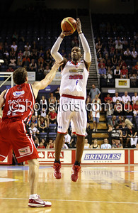 Cortez Groves - Adelaide 36er's takes a jump shot - Images from the 2009/10 NBL Round 10 match between the Wollongong Hawks and Adelaide 36er's played at Win Entertainment Centre on Wednesday the 25th of November 2009. The match was won by Adelaide 82-59 . (PHOTO: ROB SHEELEY - SMP IMAGES) These images are intended for editorial use only (e.g. news or commentary print or electronic). Any commercial or promotional use requires additional clearance.