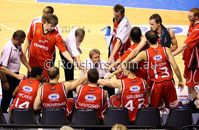 The Hawks during a time out - Images from the 2009/10 NBL Round 10 match between the Wollongong Hawks and Adelaide 36er's played at Win Entertainment Centre on Wednesday the 25th of November 2009. The match was won by Adelaide 82-59 . (PHOTO: ROB SHEELEY - SMP IMAGES) These images are intended for editorial use only (e.g. news or commentary print or electronic). Any commercial or promotional use requires additional clearance.