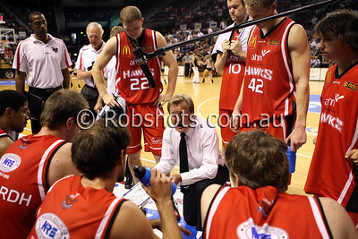 Coach Gordie McLeod talks to his team during a time out - Images from the 2009/10 NBL Round 10 match between the Wollongong Hawks and Adelaide 36er's played at Win Entertainment Centre on Wednesday the 25th of November 2009. The match was won by Adelaide 82-59 . (PHOTO: ROB SHEELEY - SMP IMAGES) These images are intended for editorial use only (e.g. news or commentary print or electronic). Any commercial or promotional use requires additional clearance.