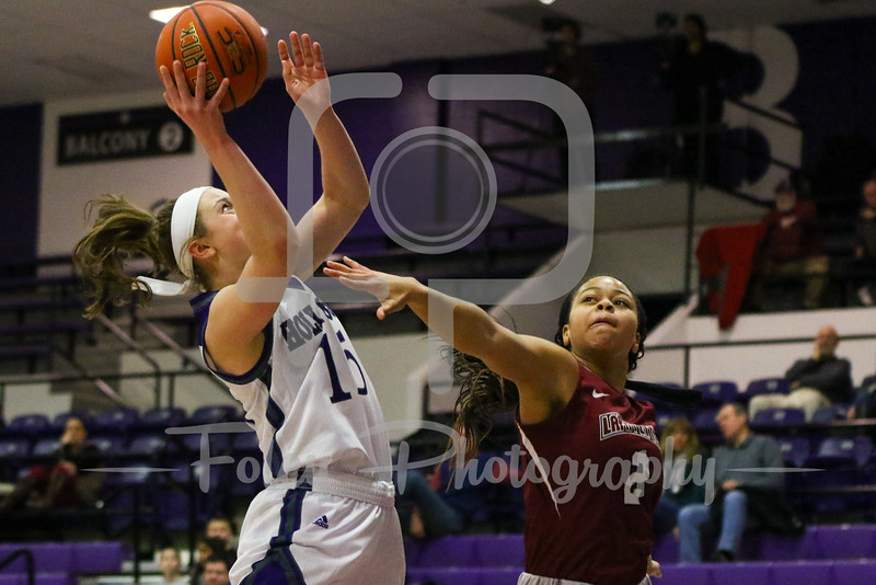 Holy Cross Crusaders guard/forward Madelyn Ganser (15) Lafayette Leopards guard Nia Holland (2)