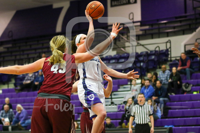 Holy Cross Crusaders guard Tricia Byrne (1) Lafayette Leopards forward Ashley Lutz (43)