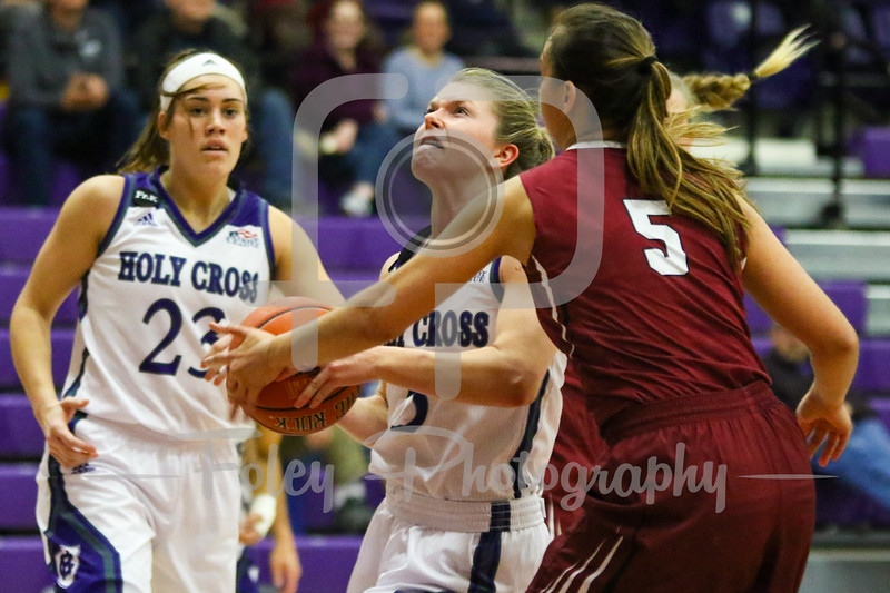 Holy Cross Crusaders guard Katie Doherty (5) Lafayette Leopards guard Anna Ptasinski (5)