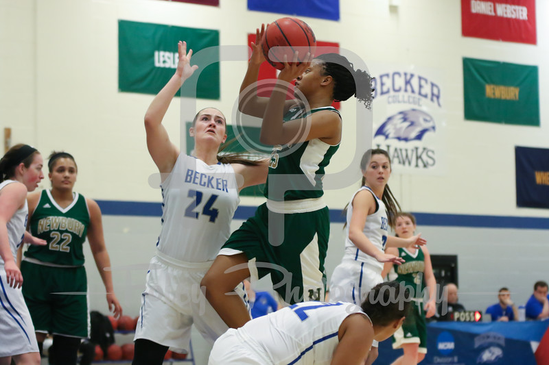 Newbury College Nighthawks Destiny Spears (25) Becker College Hawks Ciara McKissick (24)