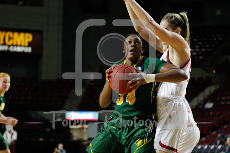 North Dakota State Bison forward Brianna Jones (34) Massachusetts Minutewomen forward/center Maggie Mulligan (00)