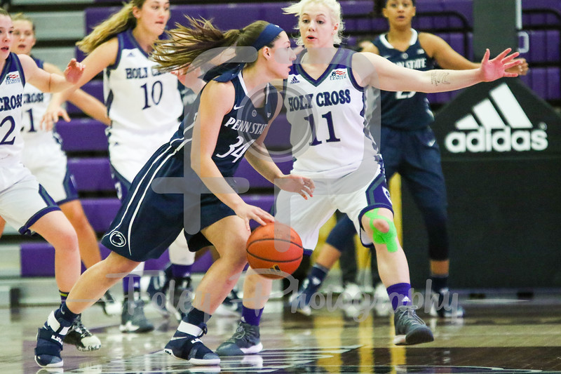 Penn State Lady Lions guard Sarah McMurtry (34) Holy Cross Crusaders guard Shannon Druck (11)