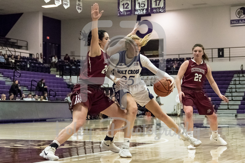 Holy Cross Crusaders forward Lauren Manis (25) Lafayette Leopards forward Alexis Santarelli (24)