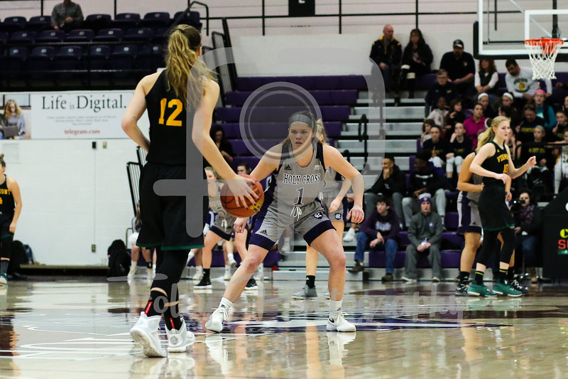 Holy Cross Crusaders guard Tricia Byrne (1) Vermont Catamounts guard Katie Lavelle (12)