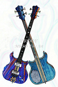 300.1836 Alembic Bass Guitar Watercolor