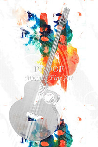 313.1835 Taylor AB1 Acoustic Electric Bass Watercolor