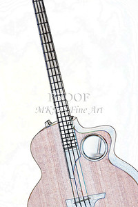306.1835 Taylor AB1 Acoustic Electric Bass Watercolor
