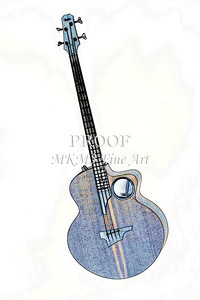 305.1835 Taylor AB1 Acoustic Electric Bass Watercolor