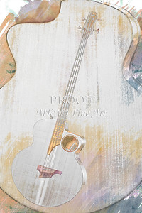 314.1835 Taylor AB1 Acoustic Electric Bass Watercolor