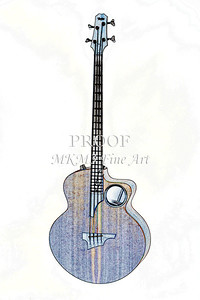 304.1835 Taylor AB1 Acoustic Electric Bass Watercolor