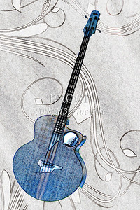 300.1835 Taylor AB1 Acoustic Electric Bass Watercolor