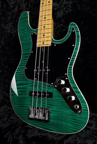 J4 Bass - Maple Top #3564, Transparent Deep Emerald Green, Grosh J/J pickups