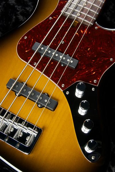 J5 Bass #3265 Two Tone Burst, Grosh Vintage JJ Pickups, Hipshot Bridge and keys.