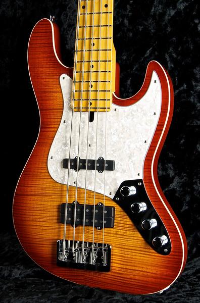 J5 Bent Top Bass #3256, Deep Honey Burst, Grosh Vintage J and JJ humbucker, Hipshot Bridge, and Keys.