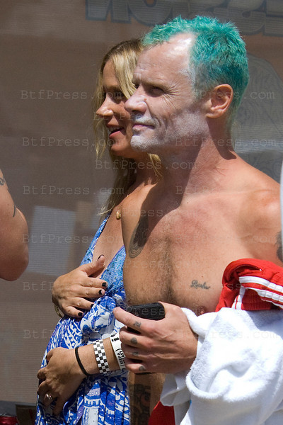 """Bassist Flea from the Funk Rock Band """" Red Hot Chili Peppers """" during the Surfrider Competition 2010 in Malibu,California."""
