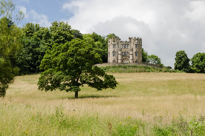 Midford Castle seen from the trackbed in Horsecombe Vale.