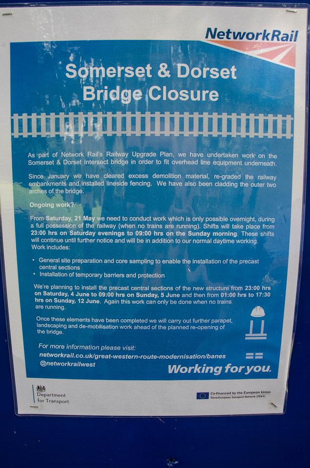 A Network Rail notice in place by the bridge over the GWR main line