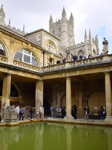 Main Bath and Abbey  The main bath, balcony and the Abbey in the background