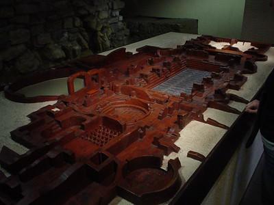 Floor Plan Wooden Model  A wooden model of the basic floor plan of the original baths