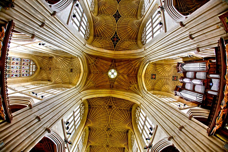 Bath Abbey, Bath, England. 17th century Fan vaulted ceiling.