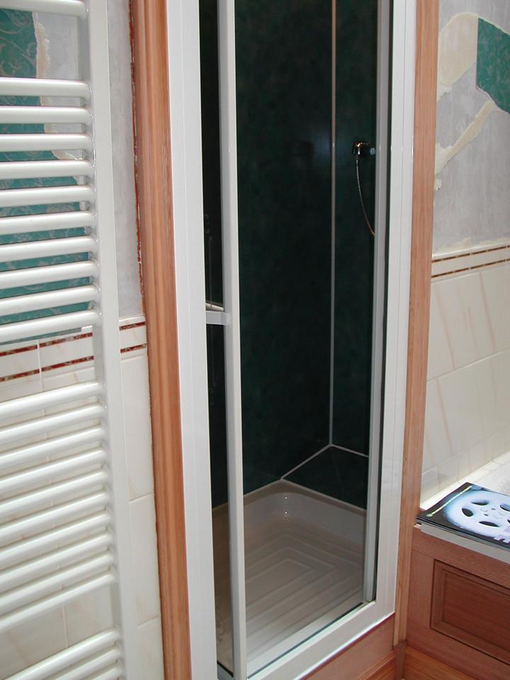 New Respatex wall board in shower area.