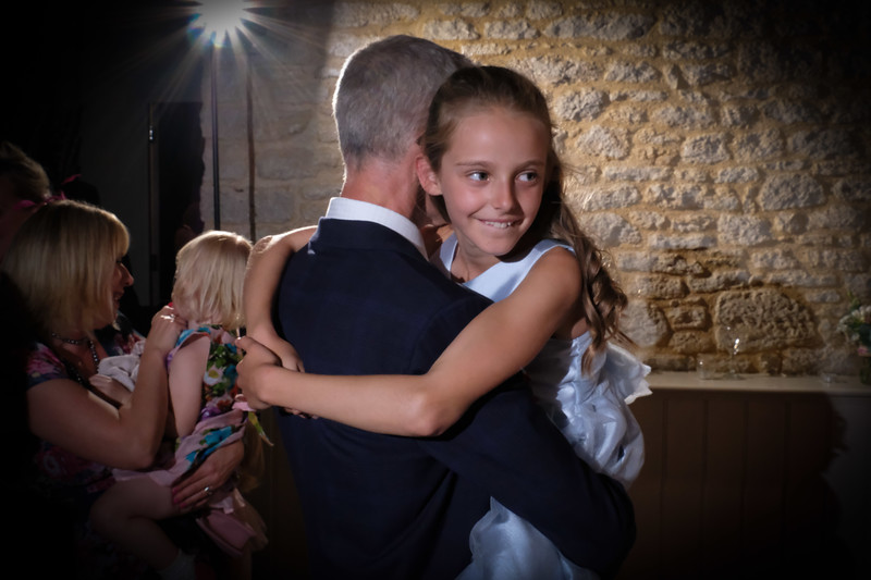 dad and daughter at wedding evening reception