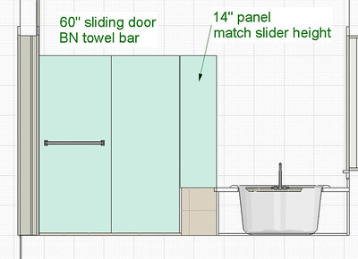 Elevation showing a sliding door.  We upgraded to a thick glass pivoting door on the left with a fixed, frameless panel on the right.