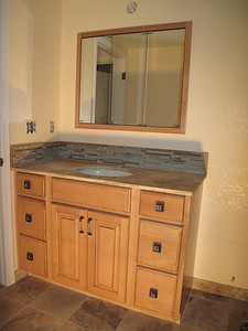 Wadatz Remodel New vanity with travertine stone counter