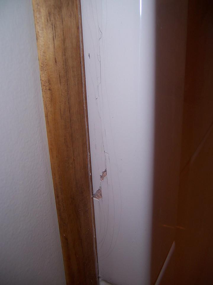Fiberglass gelcoat damage.