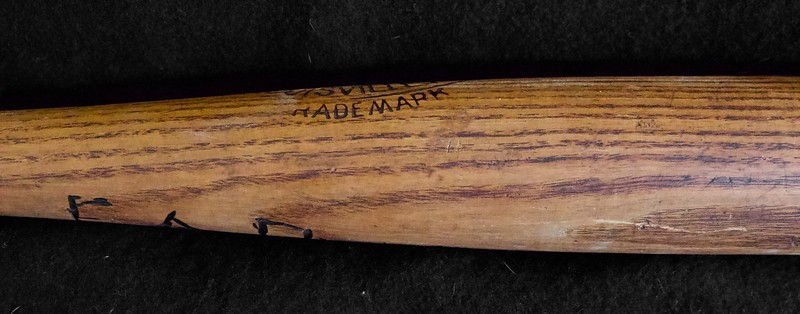"Exceptional example of J F Hillerich Ball Blanced bat meant to counter the Spalding Mushroom bat; 32"" and 41.5 oz, bat is uncracked, and no checking anywhere on barrel. The Ball Knob is in perfect condition; An early owner  burned their name into back of bat opposite center brand per pictures. Slight drying at end of barrel."