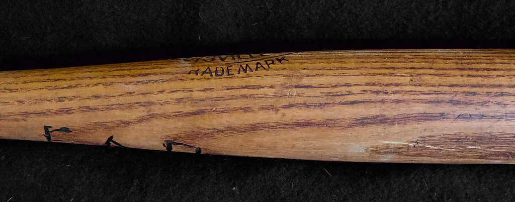 """Exceptional example of J F Hillerich Ball Blanced bat meant to counter the Spalding Mushroom bat; 32"""" and 41.5 oz, bat is uncracked, and no checking anywhere on barrel. The Ball Knob is in perfect condition; An early owner  burned their name into back of bat opposite center brand per pictures. Slight drying at end of barrel."""