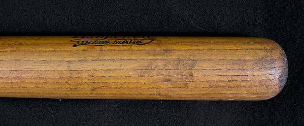 "Dash-Dot-Dash; Oil Tempered stamped on barrel; 34"" and 42 oz bat, exceptional condition throughout the handle and barrel, no checking, bat is uncracked. Knob and barrel end are intact and perfect condition; some very light apparent game usage, cleat marks."