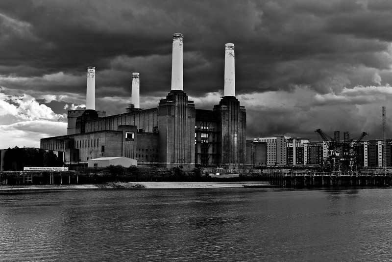 Black and White Stormy Battersea Power Station in London