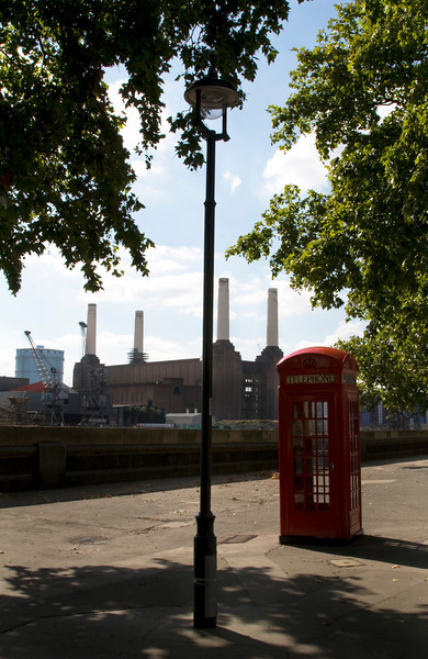 Red Phone Box, Street Lamp and Battersea Power Station