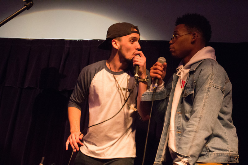In the moment, rapper Rob (right) and Just Brad (left) rap together.