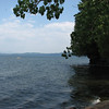Looking out into Lake Champlain from the spit of land at the entrance to Arnold Bay.